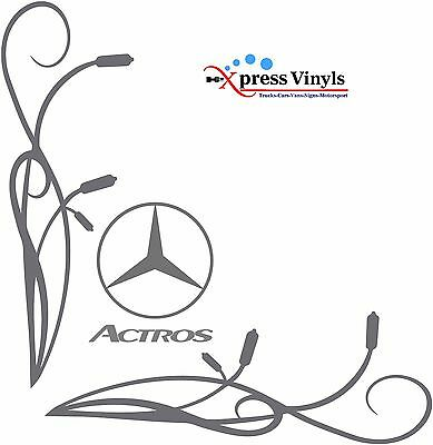 Mercedes Actros style truck sticker. Floral design for side windows