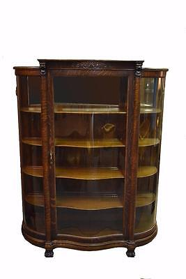 Antique Oak Display / China Cabinet Curved Glass Claw Foot Lion Heads