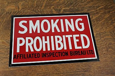 vintage NOS SMOKING PROHIBITED Sign Enamel WOODEN GRAIN ELEVATOR 15 x 10