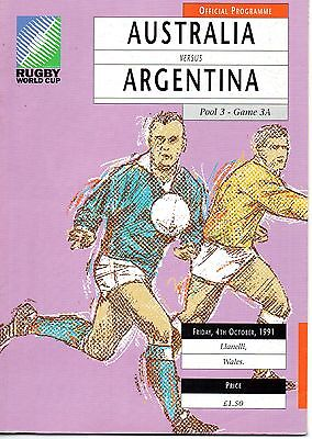 Oct 91 AUSTRALIA v ARGENTINA Rugby World Cup pool 3 Game 3A at Llanelli
