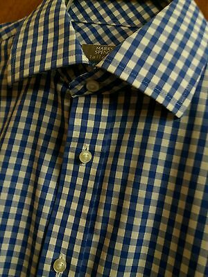Mens M&S Easy Iron Formal Double Cuff Shirt - Blue Gingham 15 5 Fits XL