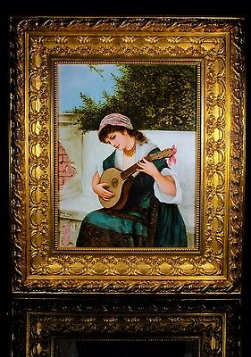 Antique Bessie Gibson 1868-1961 Porcelain Plaque Italian Gypsy Girl Playing 1884