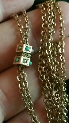 Antique Victorian Gold slide & Gold Filled Watch Chain Necklace