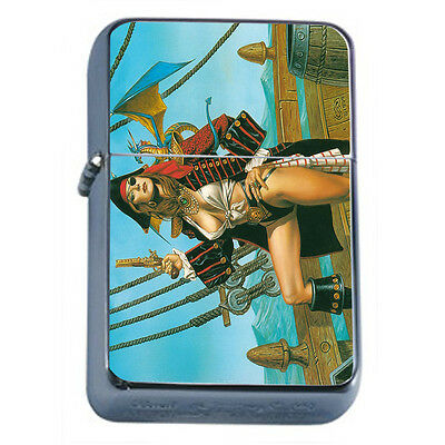 Vintage Pirate Ship D11 Windproof Dual Flame Torch Lighter Refillable