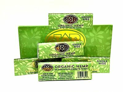 JOB Hemp Rolling Papers 5 Packs 50 Leaves ea Single Wide Roll Tobacco Unbleached