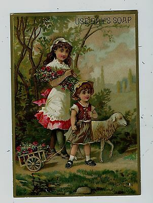 Trade card Days Soap children and lamb  larg  card