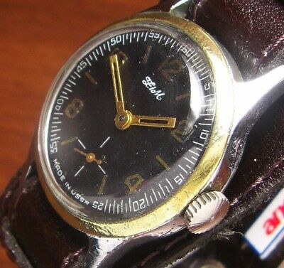 Watch Zim Pobeda Grey Export type 1950 Ussr Russian Soviet Vintage Band Serviced