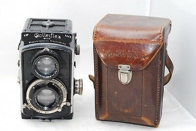(4244) Early Baby Rolleiflex 4x4 TLR Camera Tessar 60mm F2.8 from JAPAN, NICE!!