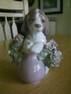 "Lladro Figurine #6574 ""Take Me Home"" Puppy with Flowers No Box"