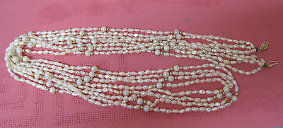 "35"" long 14k gold clasp genuine freshwater & cultured pearl 4-strand necklace"