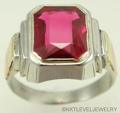Antique Deco 10ct Emerald Cut Ruby 10k Solid White Rose & Yellow Gold Men's Ring