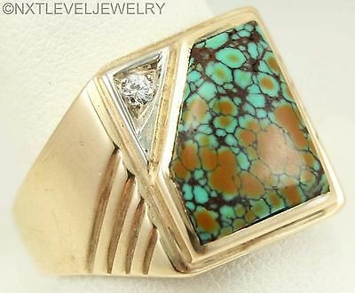 Antique Art Deco RARE Variegated Turquoise & Diamond 10k Solid Gold Men's Ring