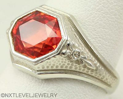 Antique 1920's Art Deco Padparadscha Sapphire 10k Solid White Gold Men's Ring
