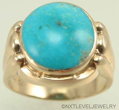 HEAVY Antique RARE Kingman Birdseye Water Web Turquoise 10k Solid Gold Mens Ring