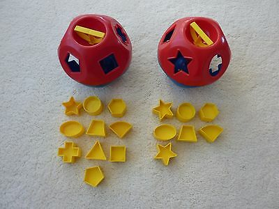 2 x VINTAGE TUPPERWARE TOY, O SHAPED BALL WITH SHAPES