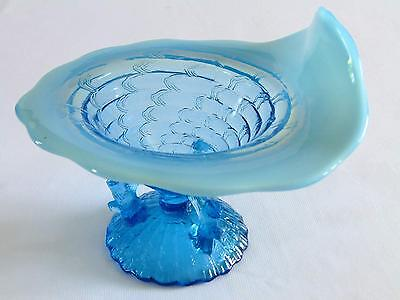 Northwood Blue Opalescent Ocean Shell Jip Bowl ~ Twig Branch Base ~ ©1904