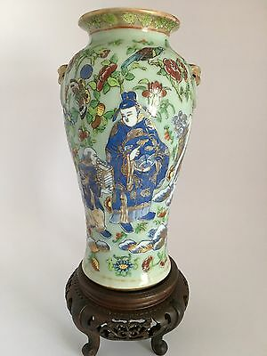 19th C Chinese Porcelain Vase Hand Painted With Figures,Bats,Birds,Fruit