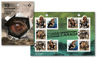 ca. DINOSAURS, DINOS OF CANADA 2015 One Booklet of 10 , Holographic Foil EFFECT