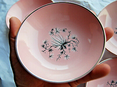 "5 Taylor Smith & Taylor Dwarf Pine Pink 5.25"" Fruit Bowls w/ Platinum Rims"
