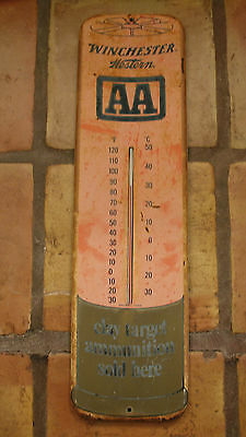 Vintage Winchester Western Aa Dry Target Ammunition Sold Here Thermometer