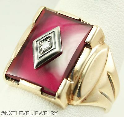 Antique 1920's Art Deco Natural Diamond Set into a Ruby 10k Solid Gold Mens Ring