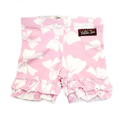 NWOT Matilda Jane Good Hart Sugar Pie Pink Bow Ruffled Shorties Shorts 8