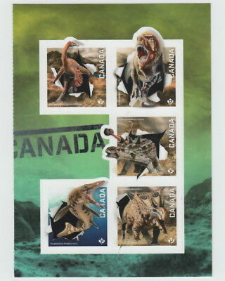 ca. DINOSAURS  OF CANADA 2015 Right Booklet Pane of 5 , Holographic Foil EFFECT