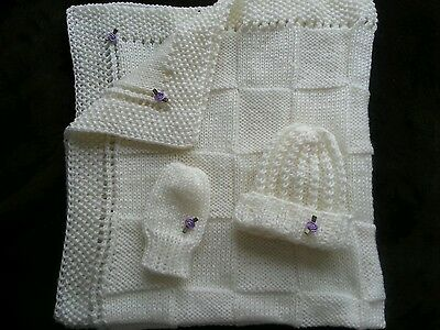 hand-knitted beautiful Bernet baby blanket and hat+mittens(cream)