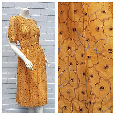 Vintage 1980s Mustard Abstract Floral Print Tuck Pleat Skirt Midi Dress Large