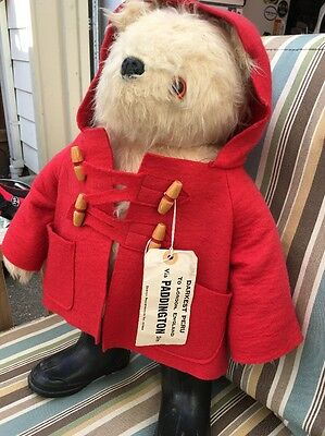 "Vintage 1980 Paddington Bear 19"" by Gabrielle  Doll Black Boots Red Jacket Heavy"