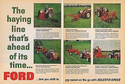1960 Ad - FORD SELECTOSPEED MOWERS, BALER, RAKES, HARVESTER, etc. - 2 Pages