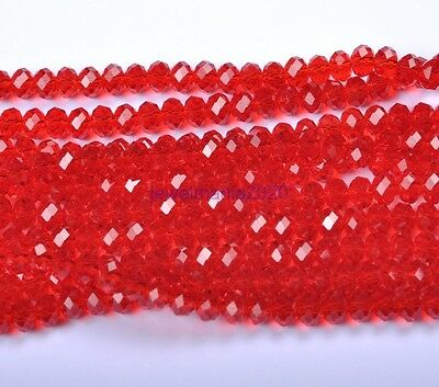 100pcs  Quality Red Czech Crystal Faceted Rondelle Charms Spacer Beads 6MM
