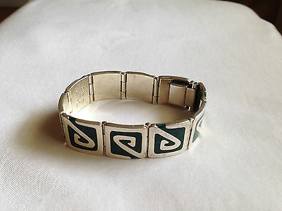 Mexican Taxco 925 Marked Silver & Malachite Panel Link Bracelet 68 g