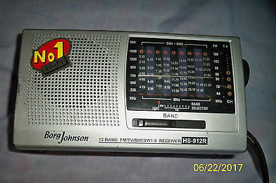 Borg Johnson HS-912R World Wide Radio - 12 Band Receiver FM/TV/MW/SW 1-9