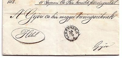 1851 Pre-stamp letter Oedenburg (Sopron, Hungary) to Gyor (embossed seal)