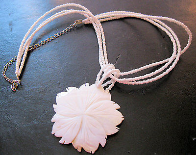 Vtg Hawaiian Hand Carved Mother of Pearl Pendant Necklace Flower White Seed Bead
