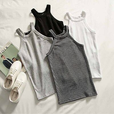 Women Summer Sleeveless T-shirt Basic Tee Casual Blouse Crop Top Vest Tank Korea