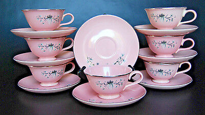 7 Taylor Smith & Taylor Dwarf Pine Pink Footed Cup & Saucer Sets - Platinum Rims