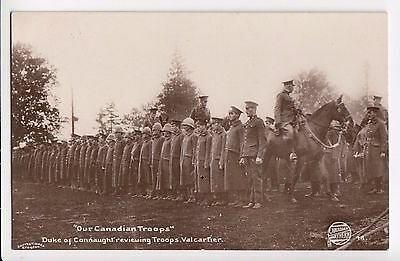 Duke of Connaught reviews Troops C.E.F. Camp VALCARTIER Quebec Canada WWI RPPC