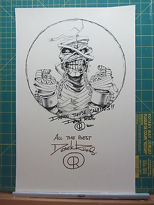 "Derek Riggs 11"" x 17"" SIGNED Damn Those Chains/Iron Maiden Print"