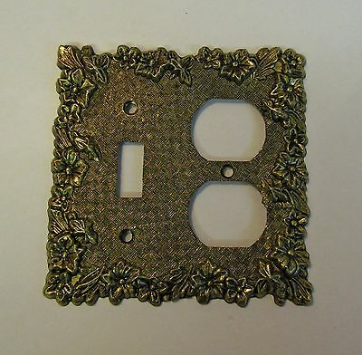 """*** Vintage """"Charm-n-Style"""" Antique Brass Finish Floral Combo Switch Cover ***"""