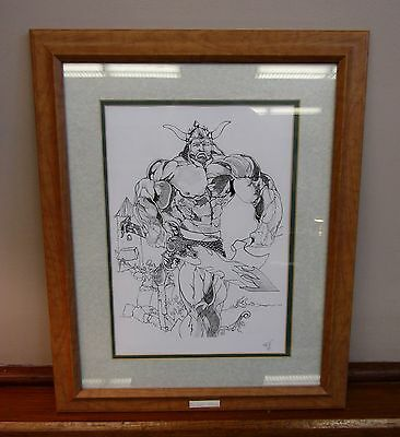 """* Vintage Drawing Print  """"The Last Viking"""" Double Matted * Signed By Artist *"""