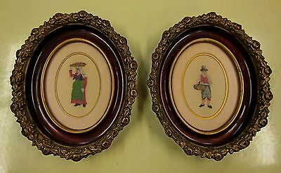 *** Set Of 2 Early Antique Petit Point Pictures In Elaborate Frames ***