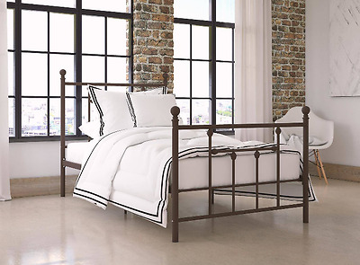 Metal Bed Antique Vintage Style Headboard Twin Iron Frame Foot Board Bronze Teen