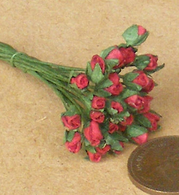 1:12 Scale Bunch Of 25 Red Paper Rose Buds Dolls House Miniature Flowers