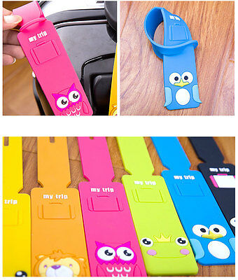 2 pcs Travel Luggage Tag 3D Cartoon Baggage Tag Travel Bag Silicone Pendant Tag