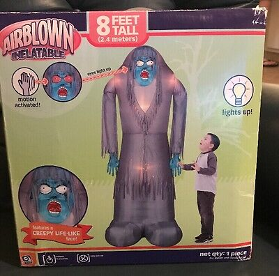 Gemmy 8'  Tall , Airblown Inflatable Motion Activated. Features Creepy Life-like