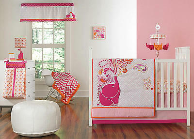 Happy Chic Baby by Jonathan Adler Party Elephant 4-Piece Crib Bedding Set, Pink