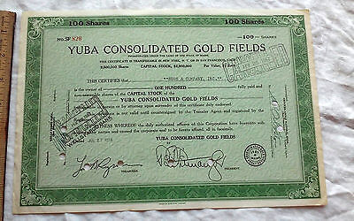 Vintage history epherma Yuba Consolidated Gold Fields mining stock Certificate