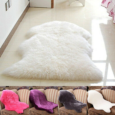 NEW Luxury Faux Sheepskin Fur Rug Soft Cozy Throw Bedroom Lounge 4 colors